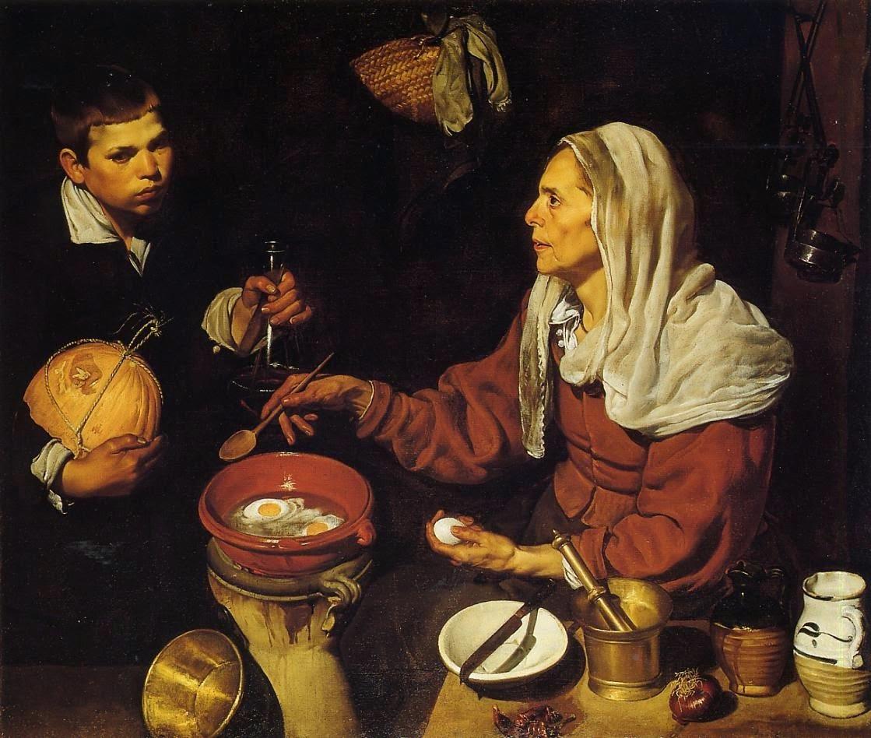 Vieja friendo huevos, oleo sobre lienzo, Diego Velázquez
