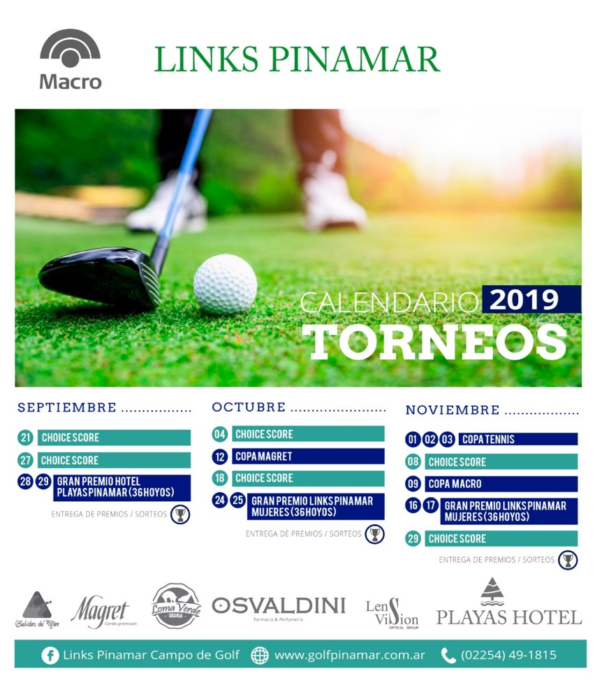 Golf _ Calendario de torneos Links Pinamar