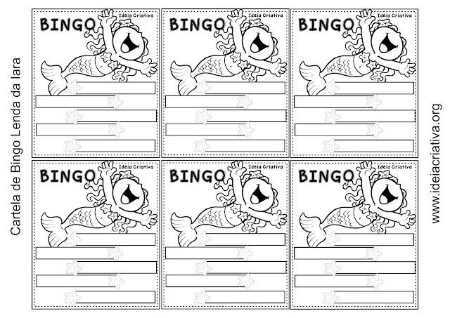 Cartelas Bingo Ortográfico Vídeo A Sereia do Rio