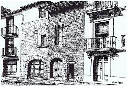 Dibuix a la ploma de la Casa Gausa de Jaume Amat (1985), extret del calendari de 1986 editat pel Grup d'Estudis Martorellencs