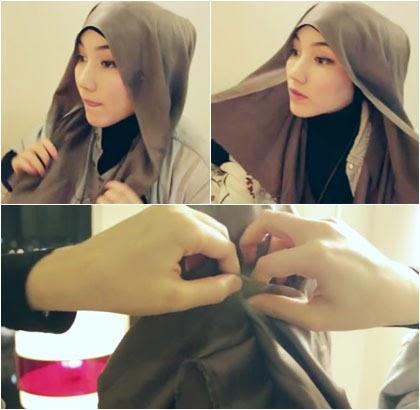 Tutorial Gaya Hijab Simple dengan Scarf Satin Segi Empat 3