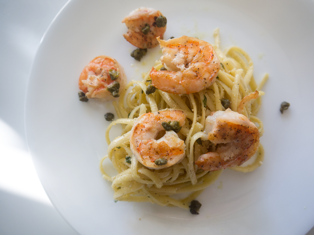 Lemon Linguine with Jumbo Shrimp
