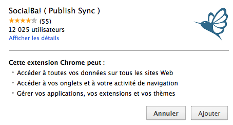 Extension Chrome SocialBa! (Publish Sync) pour synchroniser les messages sur Facebook, Twitter et Google+