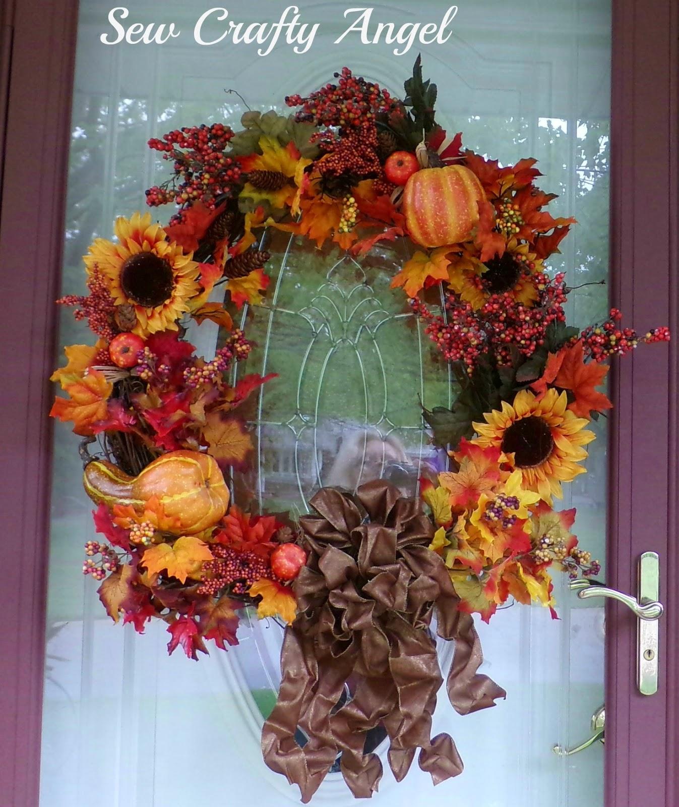Sew Crafty Angel Fall Door Wreath Diy