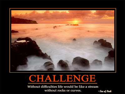 Challenge  Without difficulties life would be like a stream  without rocks or curves