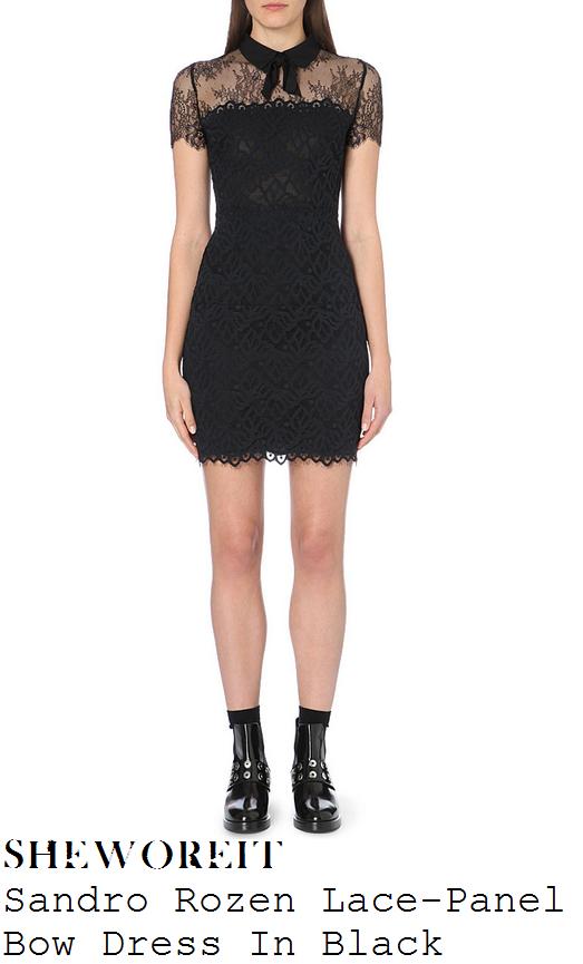 denise-van-outen-black-lace-short-sleeve-collared-mini-dress-sweet-charity