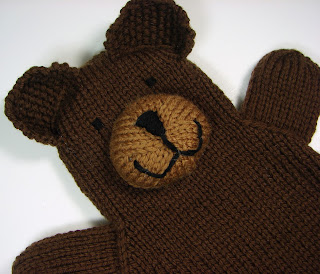 hand knit hand puppets toy animals bear