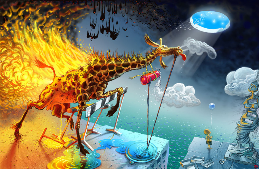 salvador dali burning giraffe