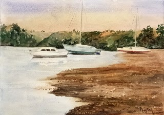 Beautiful Watercolor Painting Landscapes Beach and Boats Watercolor on paper, 29.5x42cm