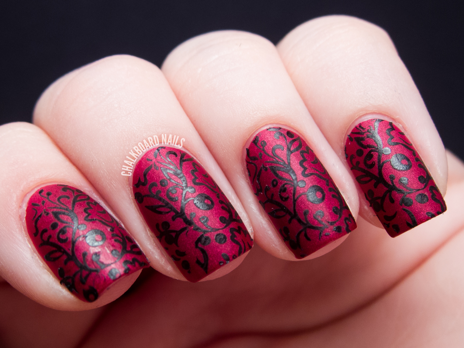 Velvet floral stamping chalkboard nails nail art blog i stamped the image using sally hansen night flight here is the entire look with the original matte finish prinsesfo Gallery