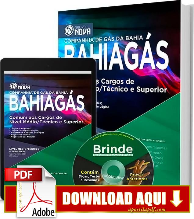 Apostila BAHIAGÁS 2015 PDF Download Grátis Nível Médio, Superior e Técnico