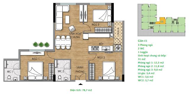 Căn hộ C5 78,7 m2 tầng 3-6 chung cư Valencia Garden