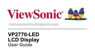 ViewSonic VP2770-LED Manual