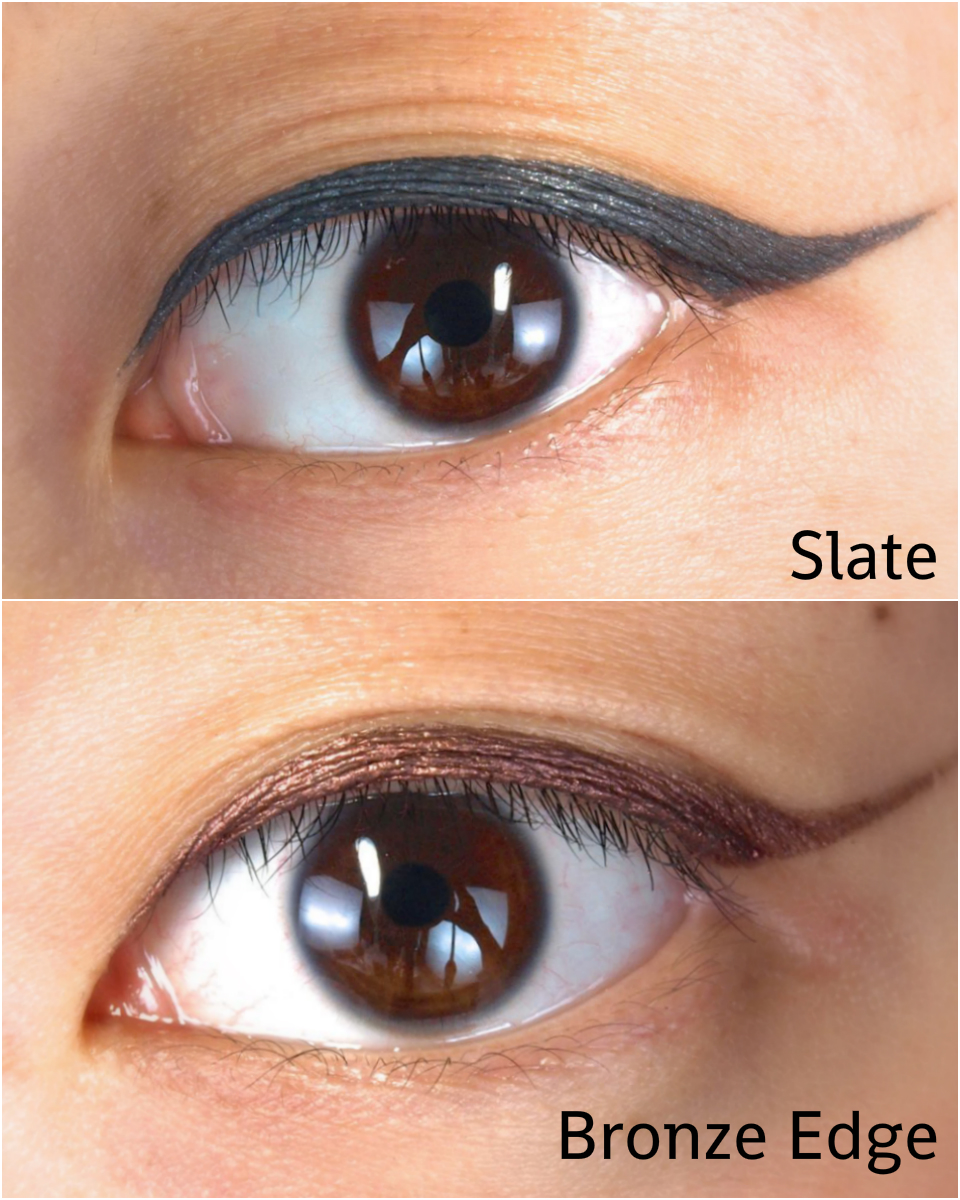 Mark On the Edge Hook Up Liquid Eyeliner Slate Bronze Edge Swatches Review