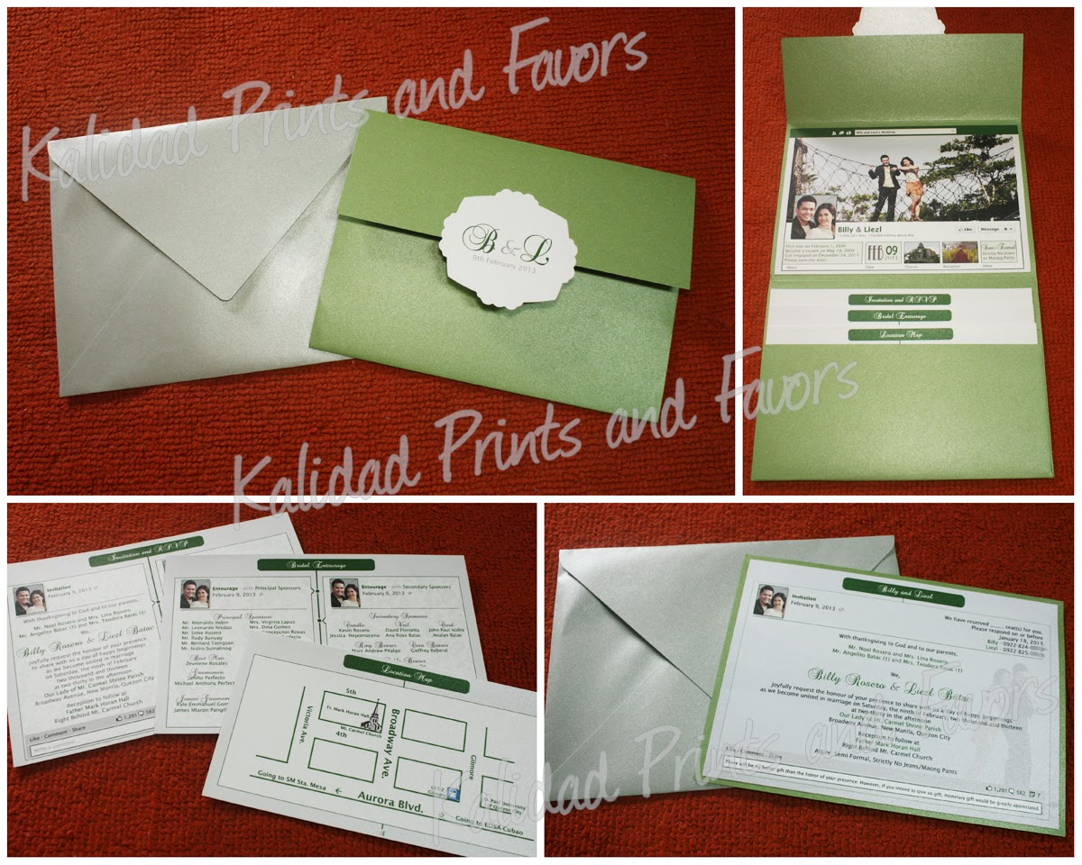 Facebook Timeline Wedding Invitations by Kalidad Prints and Favors