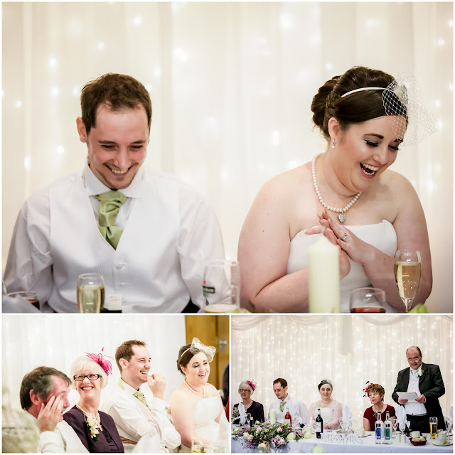 collage of wedding photos with white light curtain as backdrop