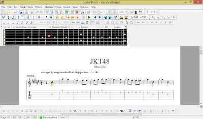 Aransemen JKT48 Shonichi di Guitar Pro