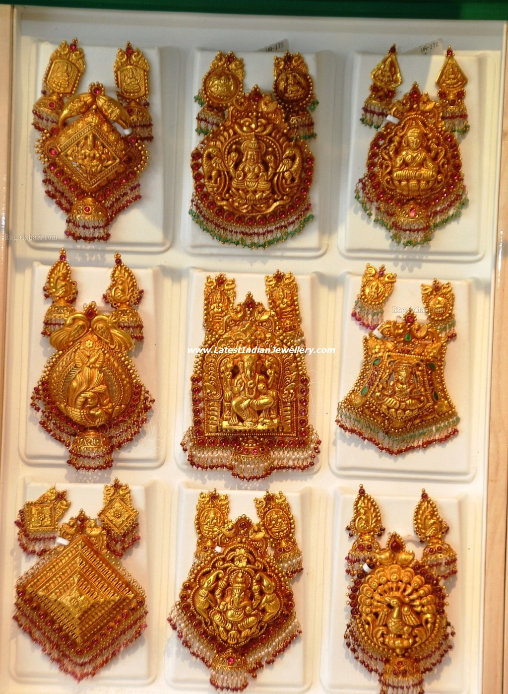 South indian traditional gold temple jewellery pendant sets mozeypictures Choice Image