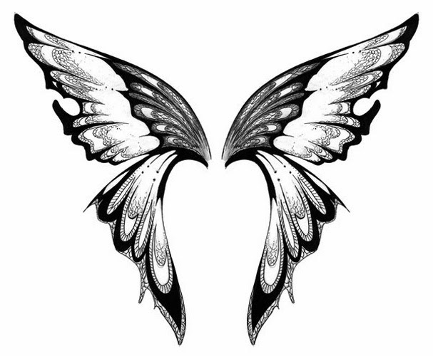 Butterfly wings tattoo stencil