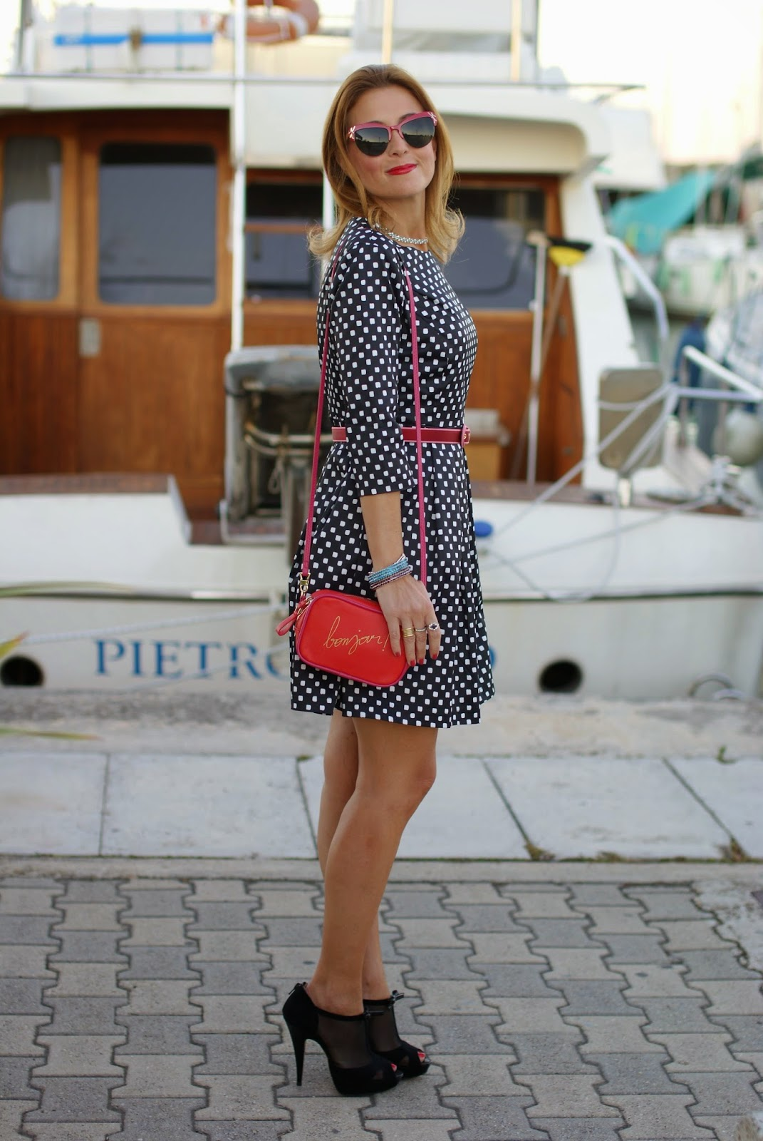Blackfive polka dots dress, bonjour bag, Luca Barra collana, Fashion and Cookies, fashion blogger