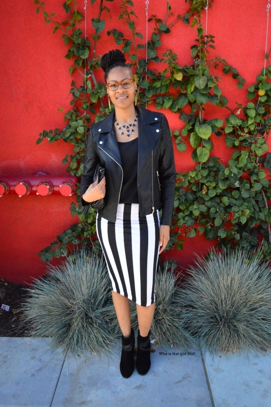 Striped pencil skirt pose4 {who is that girl mo?}