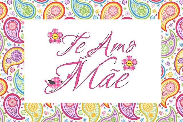 Te Amo Mãe – Kit Completo com molduras para convites, rótulos para