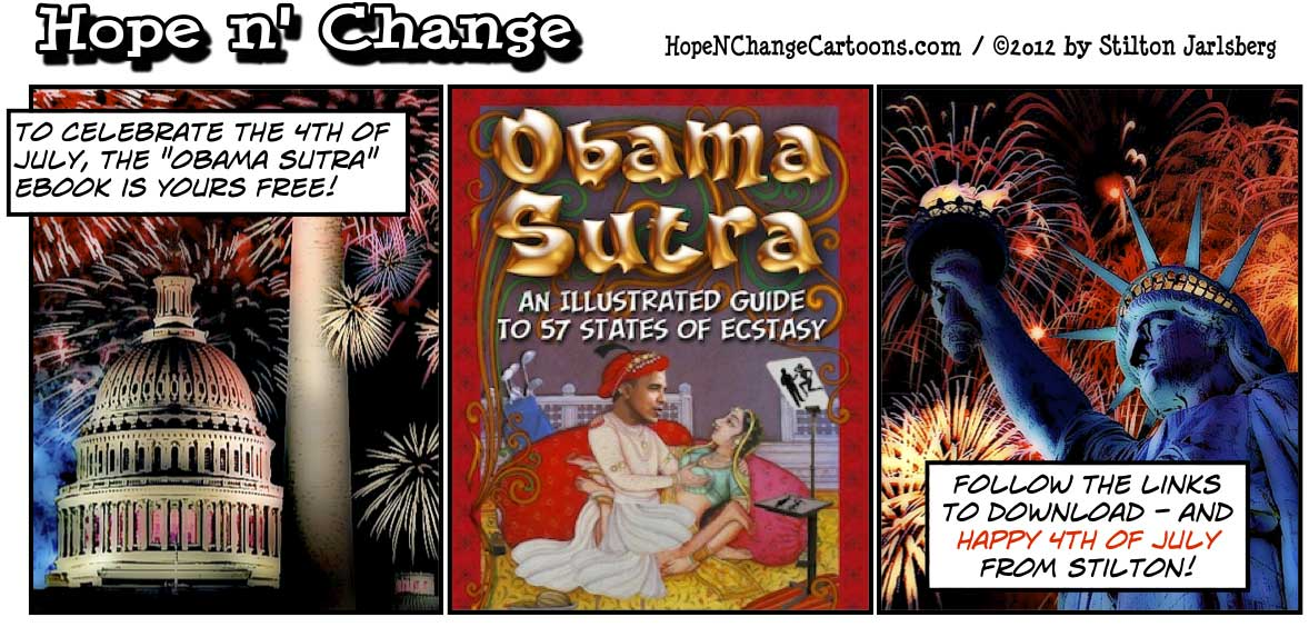 Obama Sutra ebook is free for 4th of July, hopenchange, hope n' change, hope and change, stilton jarlsberg, free book, 4th of july, tea party, obama jokes