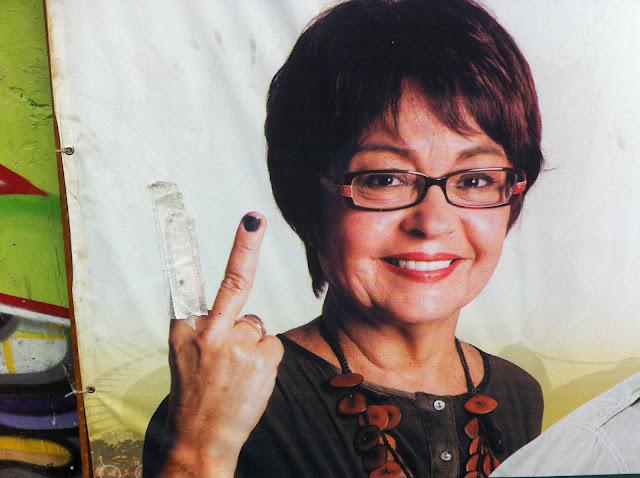 Cartaz de campanha adulterado/Foto: Marcelo Migliaccio