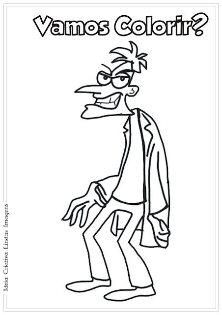 Phineas e Ferb Dr Heinz Doofenshmirtz desenho para colorir
