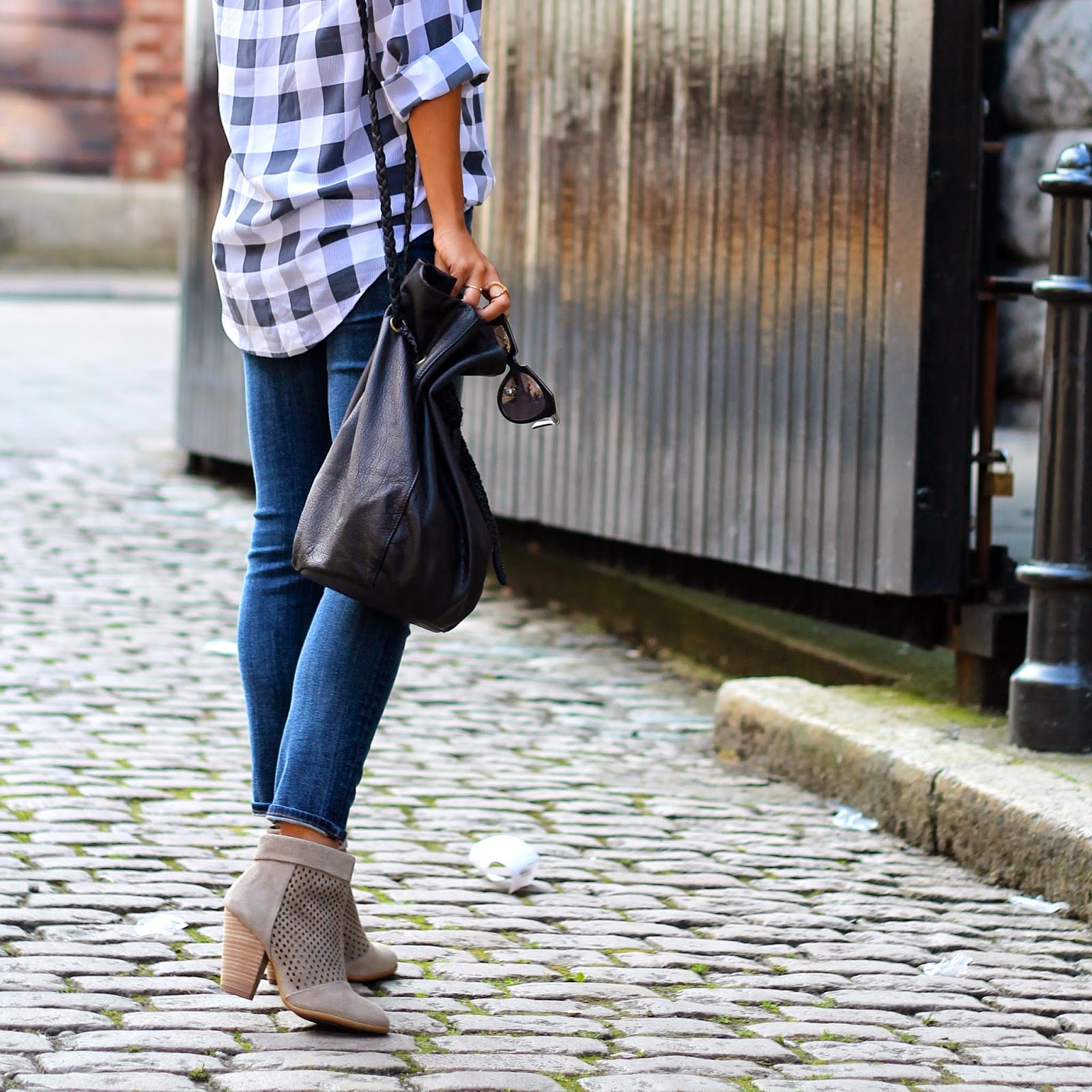 gingham blouse, distressed denim, how to dress for fall, what is fashion, Ireland Guinness