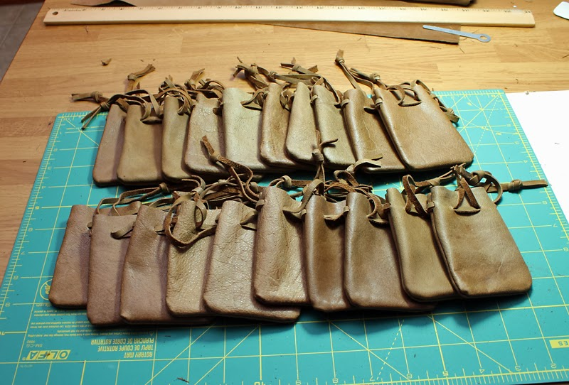 Leather dice pouch batch