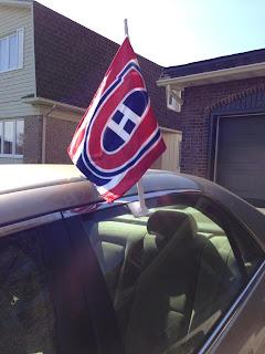 Habs flag on a car