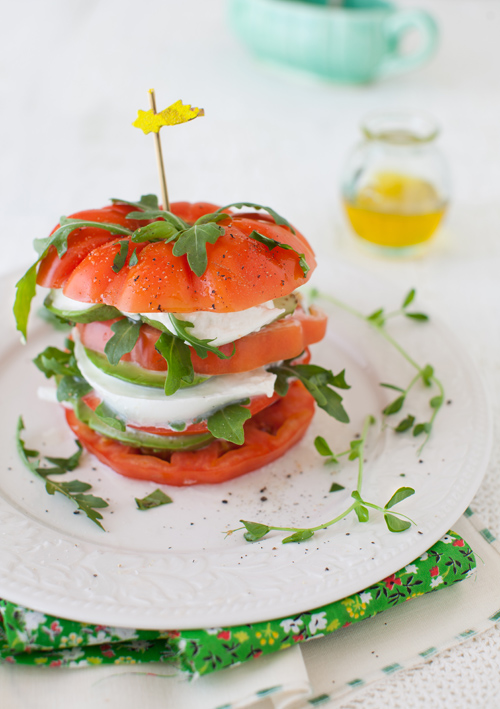 Tomato Salad with Mozzarella & Avocado at Cooking Melangery