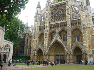 Looking at Westminster Abbey and its stained glass windows
