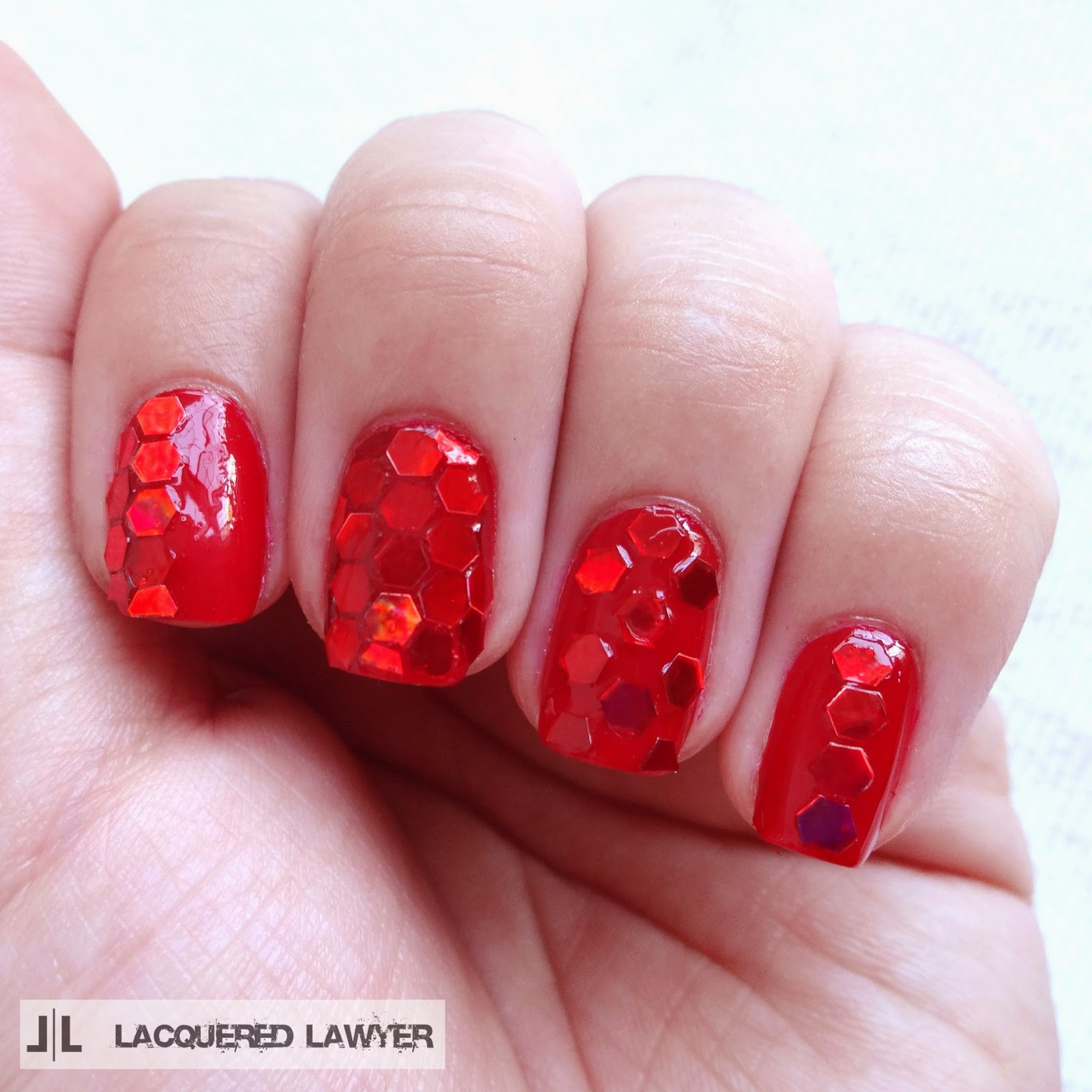 Lacquered Lawyer | Nail Art Blog: June Nail Art Society - Red Glitter