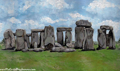 original painting, original artwork, oil painting, travel artist, stonehenge painting, stonehenge art