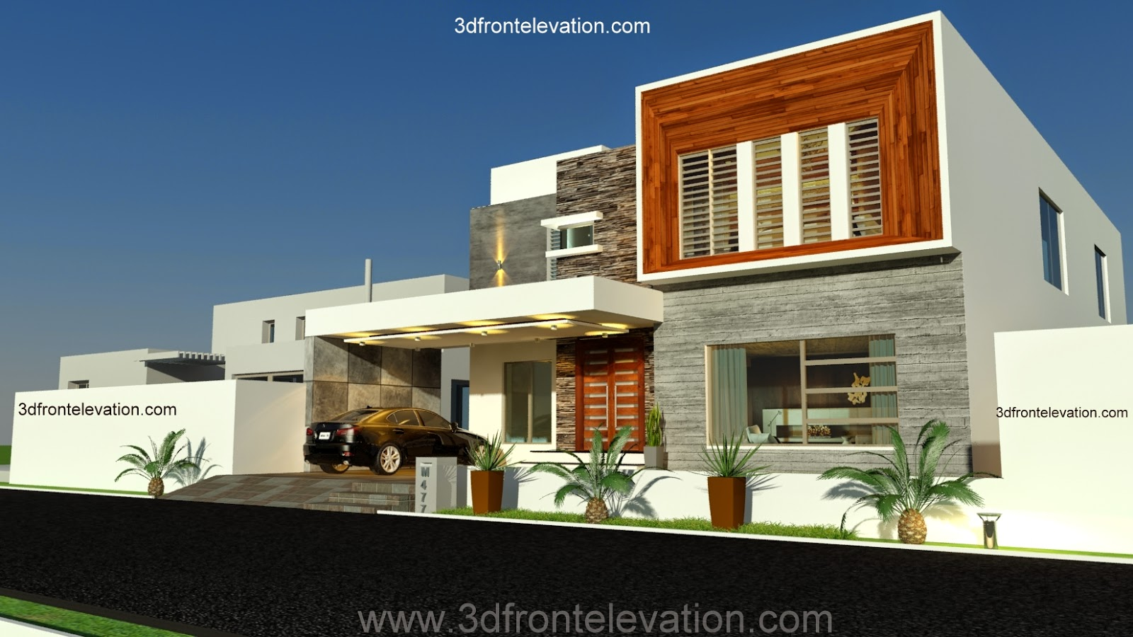3d front new 1 kanal contemporary house for Best home designs in pakistan