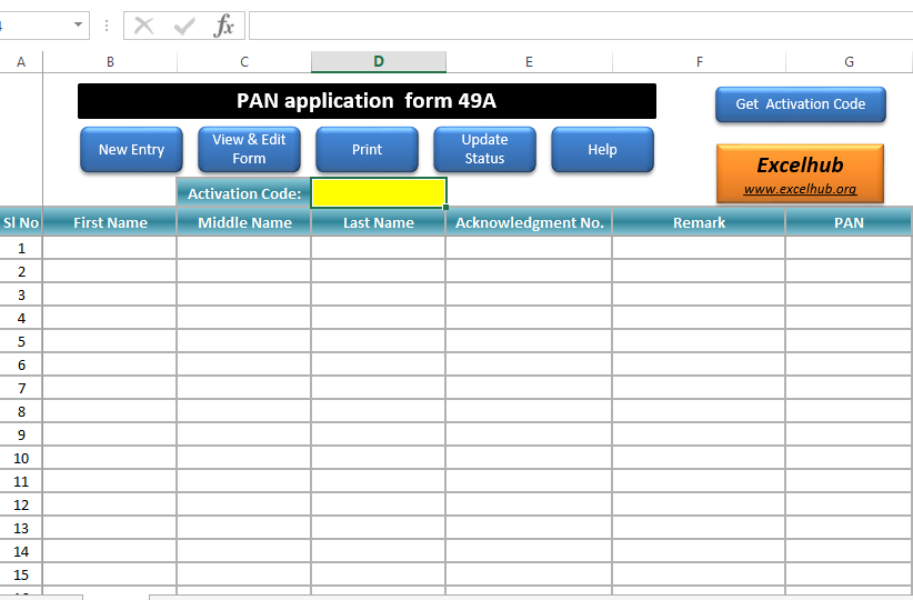 PAN Card Application Form in Excel with Database