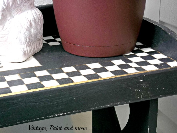 Vintage, Paint and more... black and white check chalk painted bench