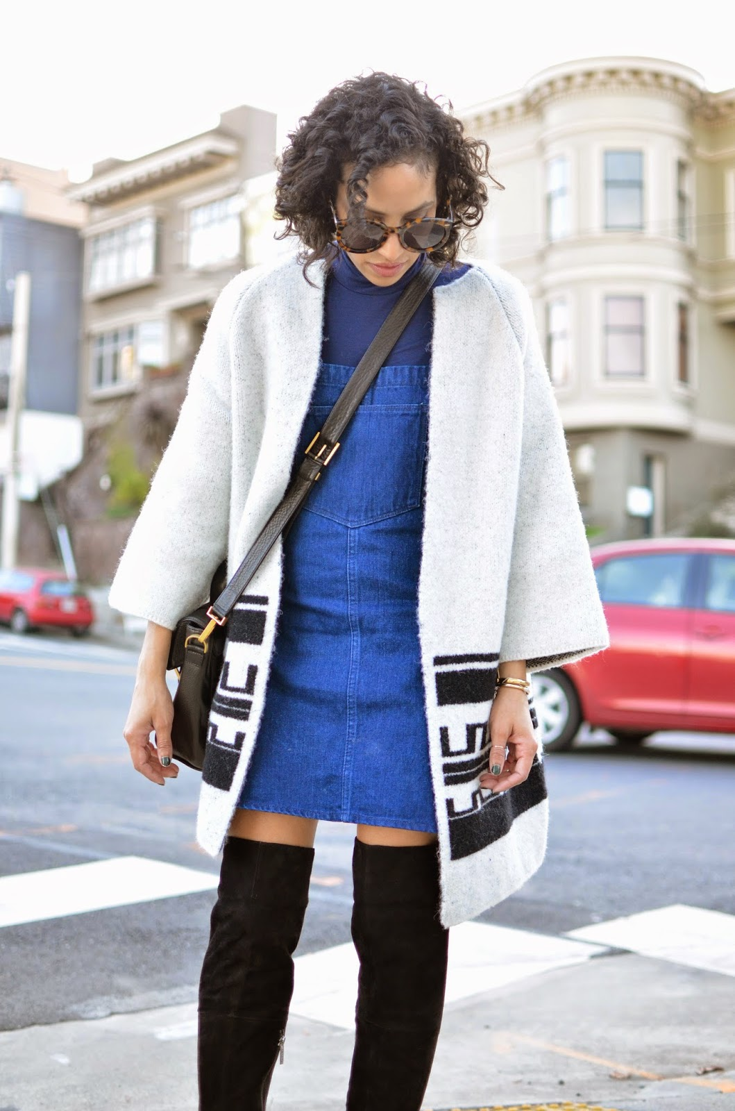 outfit post, SF street style, DUO boots, OTK boots, Zara sale find, curly hair, skirt overalls, how to style turtlenecks, Karen Walker Super Sunglasses, Fabros bag