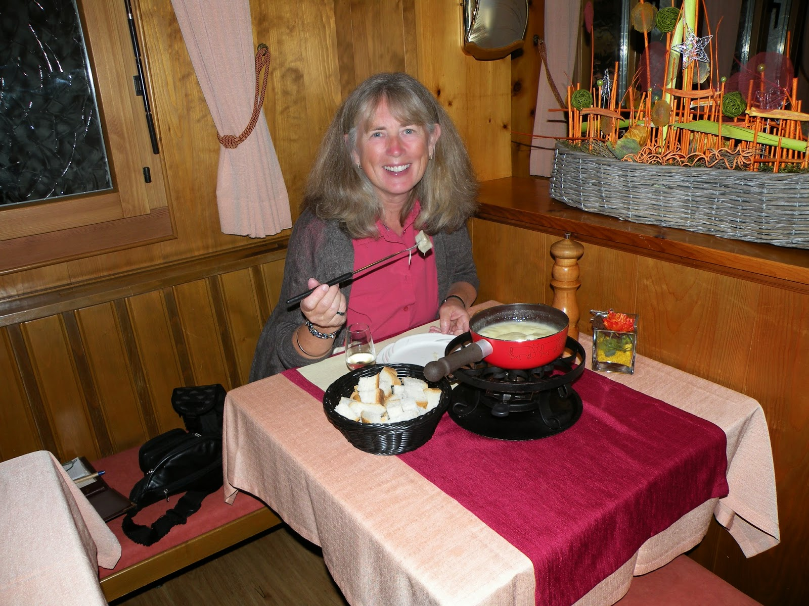 Fondue in Leukerbad, Switzerland. Photograph of Janie Robinson, Travel Writer
