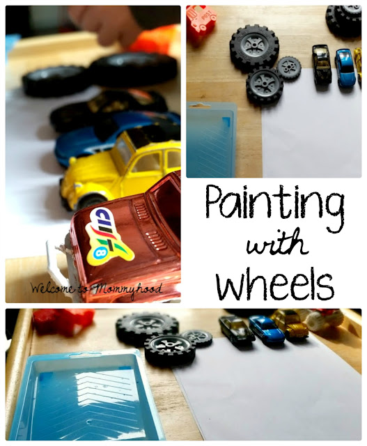 Invitation to paint with wheels by Welcome to Mommyhood #transportation, #artsandcrafts, #preschoolactivities