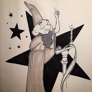 Black and white ink drawing of a magician in a robe and tall cone hat at a podium teaching a magic lesson