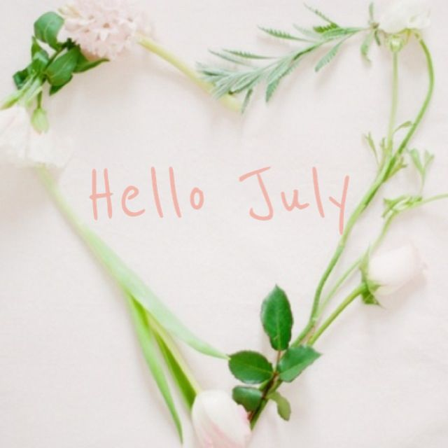 lovely Hello July card with white flowers