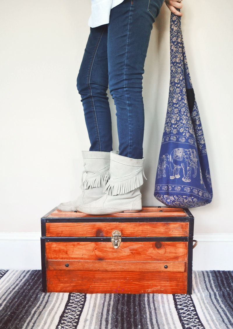 The Flying Clubhouse: You Remind Me of the Babe // vintage fringe boots