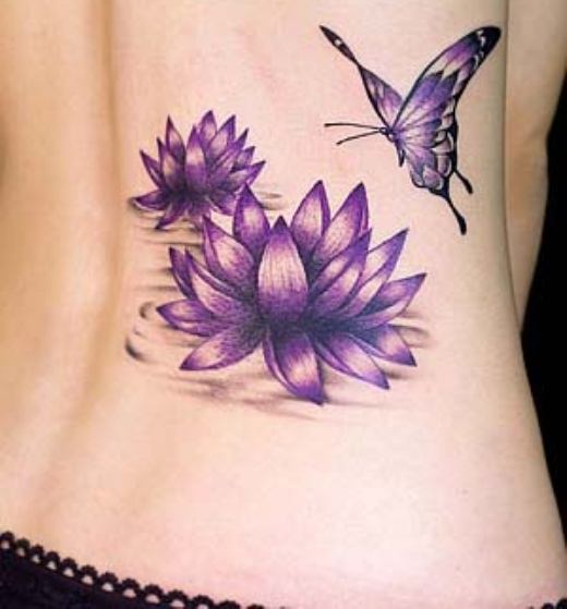 Lotus Flower Tattoos with Butterflies