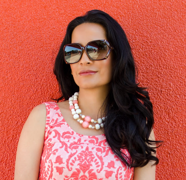 Coral and Pink Love...Ady Fleur De Lis Skater Fit and Flare Dress Brown Gucci Bamboo Glasses White Bead Necklace Iridescent bead