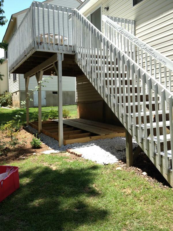 Landscape Fabric Under Deck : Diy ground level deck update aprons and stilletos