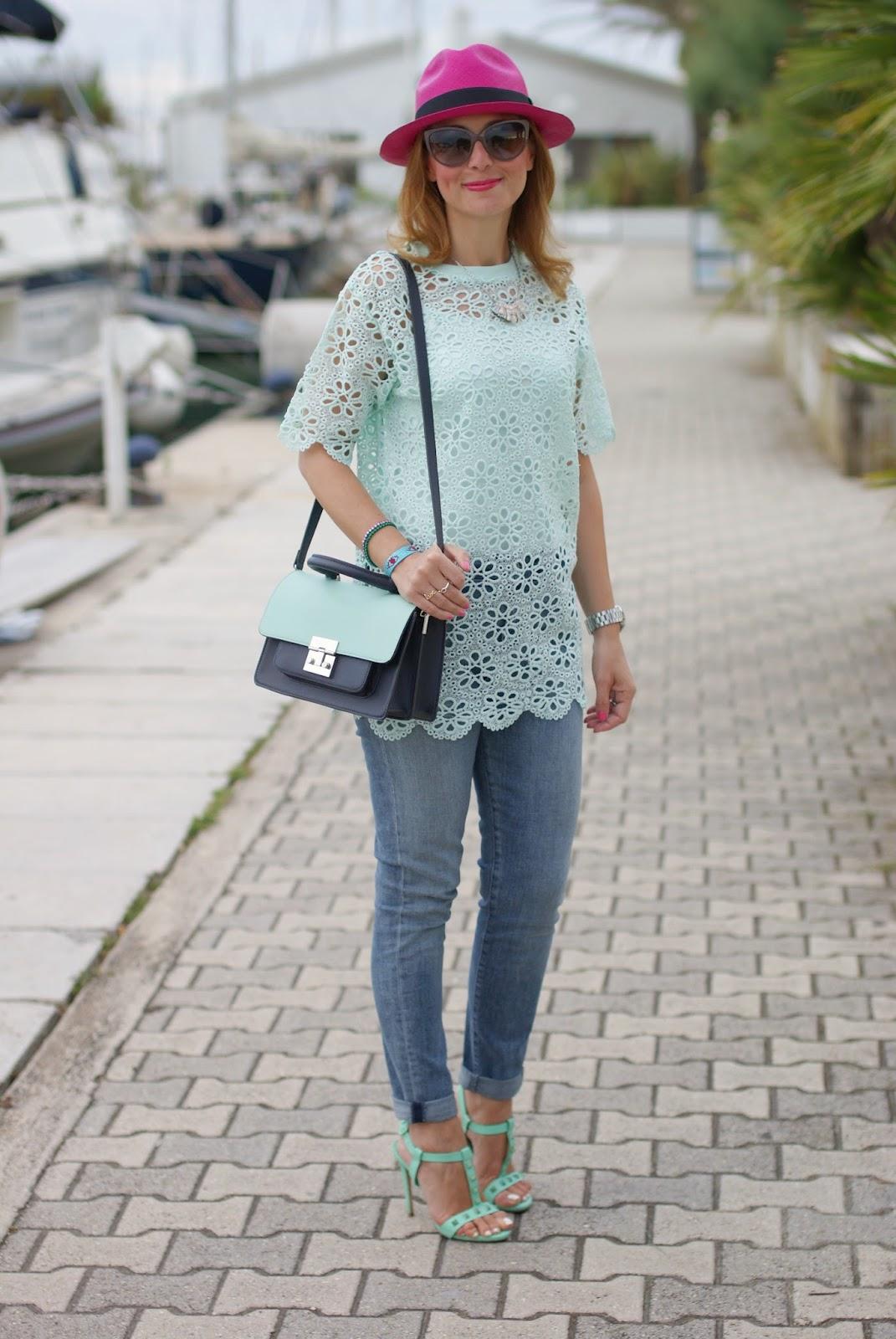 mint green crochet top, Le silla sandals, ecua-andino fuchsia hat, Fashion and Cookies, fashion blogger