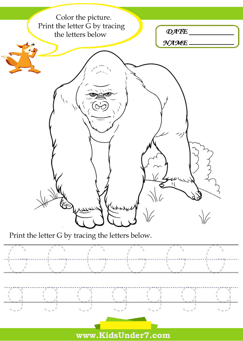 math worksheet : kids under 7 alphabet worksheets trace and print letter g : G Worksheets For Kindergarten
